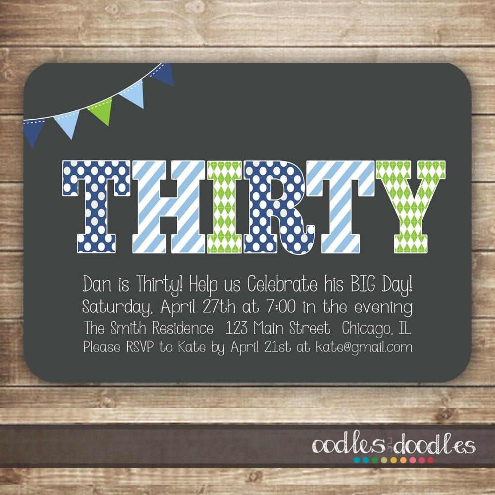 30th Birthday Invitation for Men Thirty 40th 50th Birthday