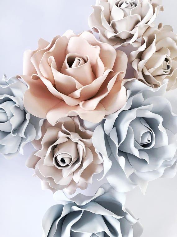 Set of 7 large foam flowers set of rose flowers wall decor mightylinksfo