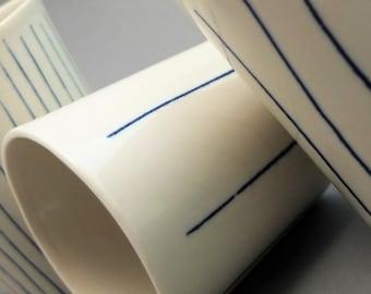 Minimalistic porcelain mug, contemporary ceramics, modern mug, cobald blue ripped mug, coffee mug, porcelain tumbler