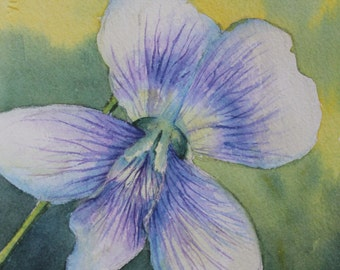 Blue Violet Watercolor Painting Spring Flowers Mothers Day
