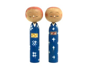 Vintage Kokeshi doll - couple object - Made in Japan 1960s - Blue kimono couple