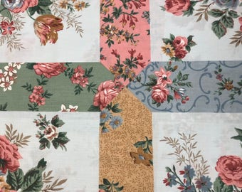 Country Flowers Patchwork POLISHED Cotton Fabric: POLY/COTTON blend   [[by the half yard]]