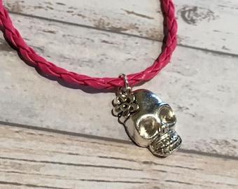 Skull charm bracelet, skull bracelet, pink faux leather bracelet, charm bracelet, skull jewellery, ladies gift, sugar skull bracelet, skull