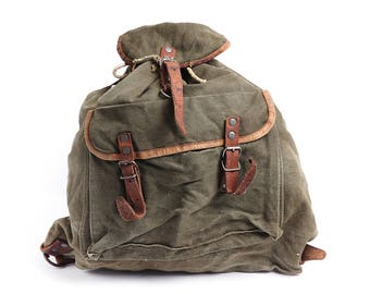 Vintage military canvas backpack, Distressed washed out backpack, Small travel backpack, Army, Hiking backpack