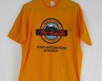 Vintage 80s Rio Grande and Denver Western Railroad Company Size Large Yellow Sportswear