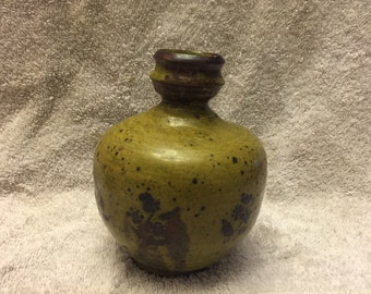 "Handmade pottery/clay vase 6"" tall  greenish yellow"