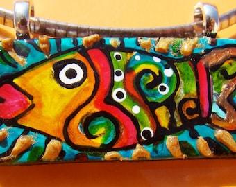Tropical Fish Jewelry Beach tHeMe Pendant Hand Painted Wearable Art ceramic Bead