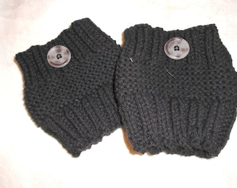 Boot Cuffs, Hand Knit Black