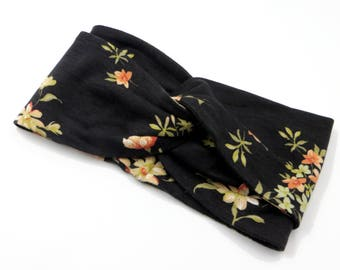 Wide Boho Headband floral print/ Wide Headband Turban Boho/Black Headband flower/Headband japanese floral fabric/Adult Turban Headband Yoga/