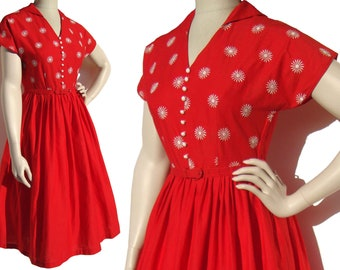 Vintage 50s Rockabilly Day Dress Red & White Embroidered Party Dress M