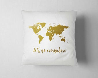 World Map Pillow, Gold Pillow, Traveler Gift, 16x16 Decorative pillow,  Home decor, Throw pillow, Pillow cover, 16x16, Birthday gift idea