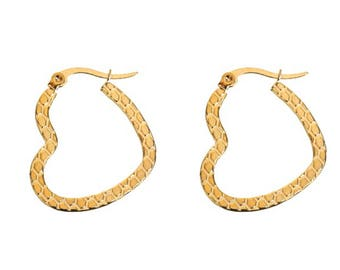 Giula Mini Gold Heart Hoop Earrings, Gift for Her, Small Gold Hoop Earrings, Stainless Steel, Snap Closure, Detail Engraving, Gold Heart