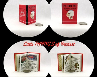 RUDOLPH The RED NOSED Reindeer Illustrated1:6 Scale Miniature Book Playscale Santa Christmas Holiday Santa