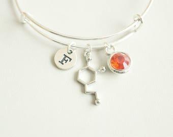 Chemistry Bracelet, Dopamine Bracelet, Chemistry gift, Molecule Bracelet, Serotonin Bracelet, Scientist, Molecule, Dopamine, Caffeine, Gift
