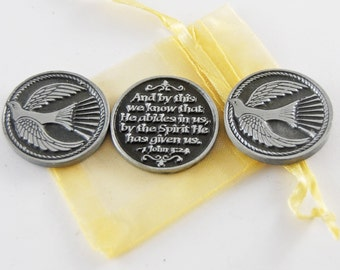 Set of 3 Dove Holy Spirit Pocket Tokens with Organza Bag