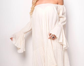 Natural 100% Cotton Off Shoulder Smock Dress