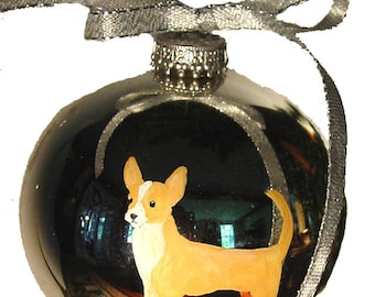 Chihuahua Smooth Dog Hand Painted Christmas Ornament - Can Be Personalized with Name