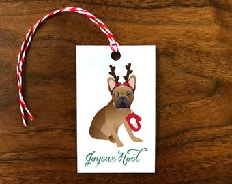 Custom French Bulldog Joyeux Noël Gift Tags | Christmas | Set of 10