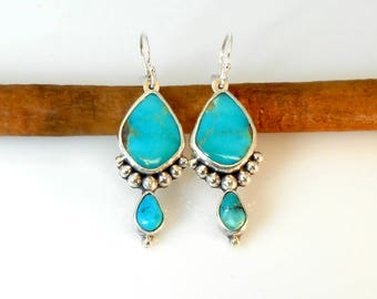 Kingman Turquoise Silver Ball Earrings