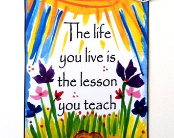 LIFE You LIVE is the LESSON Motivational Poster Inspirational Quote Motivational Print Family Typography Heartful Art by Raphaella Vaisseau