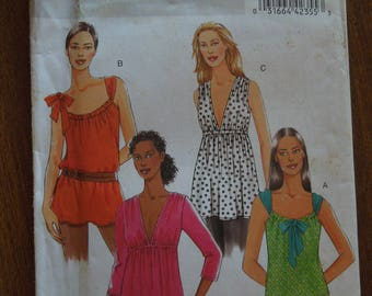 Butterick B5216, sizes vary, pullover tops, tunics, misses, womens, UNCUT sewing pattern, craft supplies