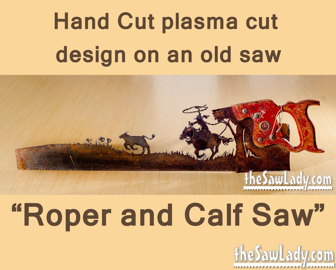 Metal Art Cowboy or Cowgirl Roper and calf design Hand