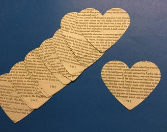 Paper ephemera 20 x paper heart die cut out Pride and Prejudice book pages scrapbooking smash book junk journal craft