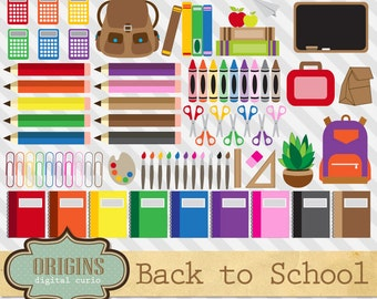 Back to School Clipart, school clip art, pencil, crayon, books, backpack, chalkboard, art supplies vectors instant download commercial use