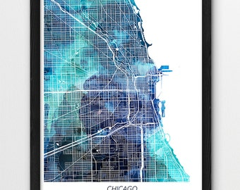 Chicago Map Print, Chicago Poster Print, Chicago Illinois Digital Urban Street Map, Blue Watercolor Print, Home Office Printable Art Decor