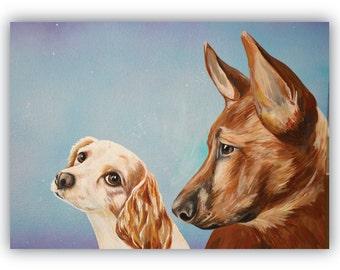 TWO pets on 20x16 canvas size custom pets portraits