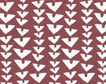 FABRIC PATCHWORK color MARSALA white triangle