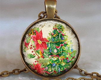 Christmas Tree pendant, Christmas necklace, Christmas jewelry, Poinsettia pendant, holiday jewelry, holiday jewellery key chain key ring fob