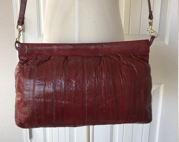 Vintage Burgundy Eel Skin Shoulder Bag Purse with Removable Strap, Crossbody or Clutch Option