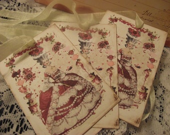 Shabby Chic Gift Tags  Tea Party Tags Marie Antoinette Decor Tags Bridal Shower Tags Birthday Tags