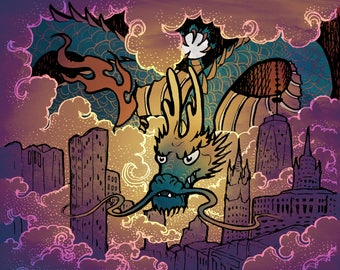 City Dawn Dragon ACEO Digital Print