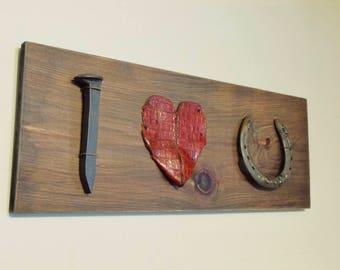 Rustic Love Sign, I heart you, Farmhouse decor, horseshoe decor, rusty assemblage, valentine gift, love wedding sign, art sign