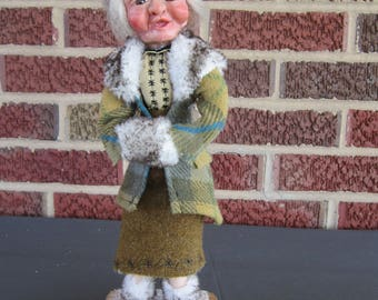 Art Doll/Art/Polymer Clay/Hand Sculpted/Sculpted/OOAK/Old Woman/Doll/OOAK/One of a Kind/Vintage Fabric