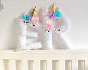 Unicorn Fan Cushion, Personalised Unicorn Initial Letter Cushion, Unicorn Head, Unicorn Horn, Unicorn Baby Shower, Unicorn Cushion