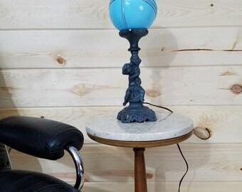 L & L Cherub Angel Blue Art Deco Shade Lamp