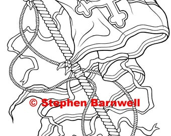 """Fantasy coloring page, """"Banner"""" by Stephen Barnwell"""