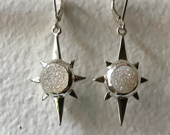 North Star Earrings- White Druzy Quartz and Sterling Silver