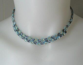 50s Vintage Leru Choker Necklace Blue Floral Strands, Rhinestones & Thermoset Flowers, Signed Jewelry, Dainty Feminine