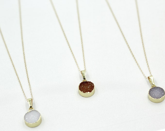 Druzy Necklace Bridesmaid Necklaces, Gold Filled Necklaces, Birthstone Necklace, Customized Jewelry