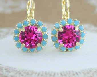 Crystal earrings,fuchsia and turquoise earrings,fuchsia earrings,gold fuchsia turquoise leverback earrings,leverback,turquoise earrings,pink