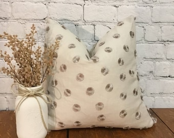 Beige Embroidered Fringe Polka Dot Pillow Cover, 19x19 Pillow Cover w/ Zipper