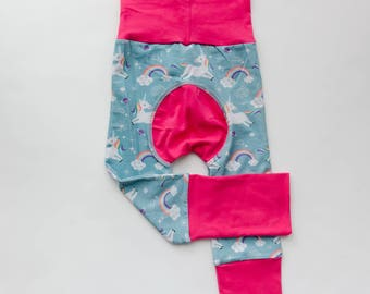 Unicorns and Fuchsia/Bubblegum Baby Big Butt Pants - Grow with me pants - Cloth diaper friendly - Toddler - Gift
