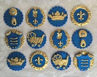 Prince Fondant Cupcake Toppers. Edible Baby Shower toppers. Royal theme Baby Shower cupcake toppers . Royal Blue & gold Baby Shower Toppers.