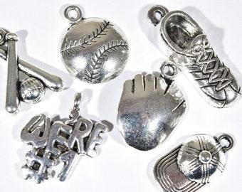 6 Baseball Charm Collection - Sports Charm - Baseball Earring Charms - Baseball Season Charm - Ball Player Charms Baseball Pendants - 2P1965