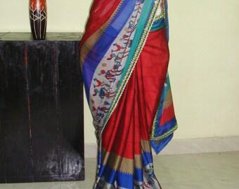 Indian crepe saree /maroon red color saree/women daily wear saree/casual saree /banarasi blouse!