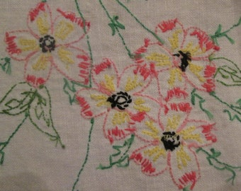 Vintage Embroidered Linen Dresser Scarf/ Table Runner - Pink Yellow and Green Floral Embroidery